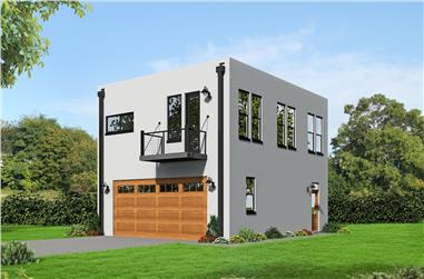 2-Bedroom, 820 Sq Ft Garage w/Apartments House - Plan #196-1030 - Front Exterior