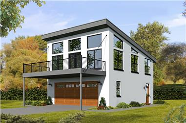 1-Bedroom, 820 Sq Ft Garage with Apartment Plan - 196-1049 - Main Exterior