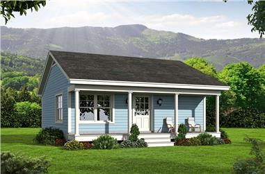 1-Bedroom, 561 Sq Ft Small House Plans - 196-1050 - Main Exterior