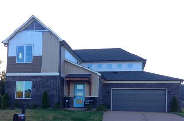 Color photograph of Contemporary home plan (ThePlanCollection: House Plan #196-1058)