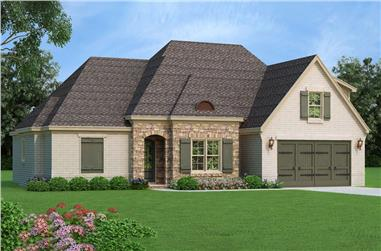 Color rendering of Traditional home plan (ThePlanCollection: House Plan #196-1060)