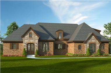 Color rendering of Luxury home plan (ThePlanCollection: House Plan #196-1062)