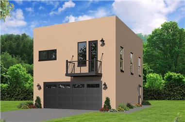 2-Bedroom, 817 Sq Ft Modern Home Plan - 196-1066 - Main Exterior