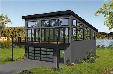 1-Bedroom, 1309 Sq Ft Modern House Plan - 196-1174 - Front Exterior