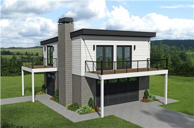 1-Bedroom, 793 Sq Ft Contemporary House - Plan #196-1188 - Front Exterior