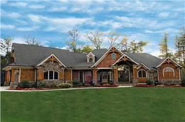 Color photograph of Ranch home plan (ThePlanCollection: House Plan #198-1000)