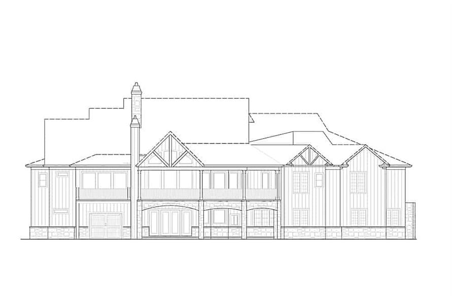 Home Plan Rear Elevation of this 4-Bedroom,3773 Sq Ft Plan -198-1117
