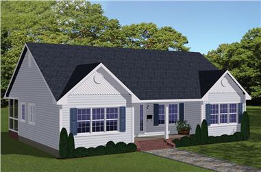 3-Bedroom, 1438 Sq Ft Traditional House Plan - 200-1002 - Front Exterior