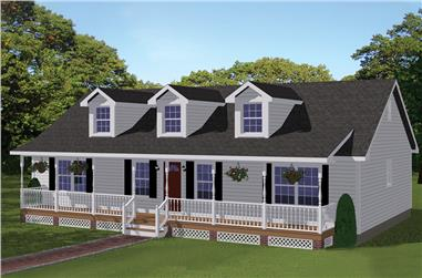 3-Bedroom, 1381 Sq Ft Country House Plan - 200-1057 - Front Exterior