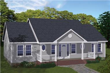 3-Bedroom, 1400 Sq Ft Ranch House Plan - 200-1060 - Front Exterior