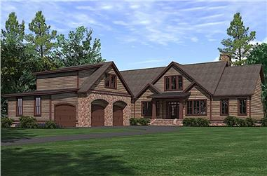 3–4-Bedroom, 3742 Sq Ft Rustic House Plan - 201-1016 - Front Exterior