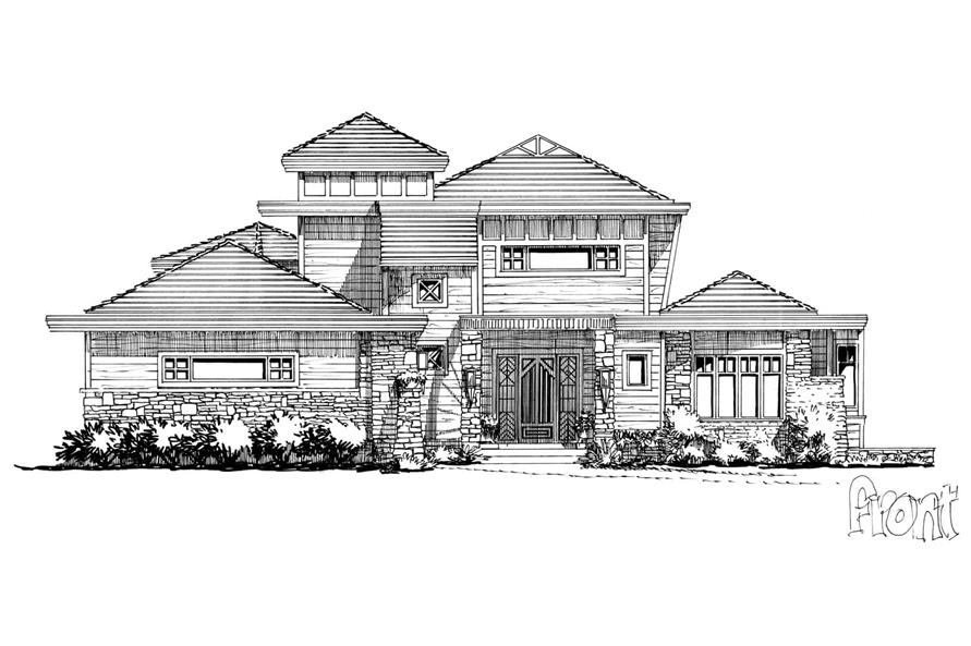 Home Plan Front Elevation of this 4-Bedroom,4085 Sq Ft Plan -205-1008