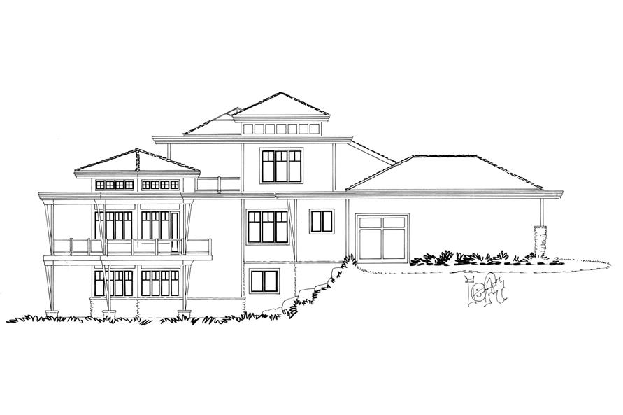 Home Plan Left Elevation of this 4-Bedroom,4085 Sq Ft Plan -205-1008