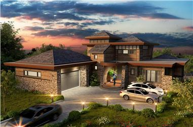 4-Bedroom, 4085 Sq Ft Contemporary House - Plan #205-1008 - Front Exterior