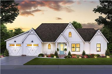 3-Bedroom, 1794 Sq Ft Contemporary House Plan - 206-1031 - Front Exterior