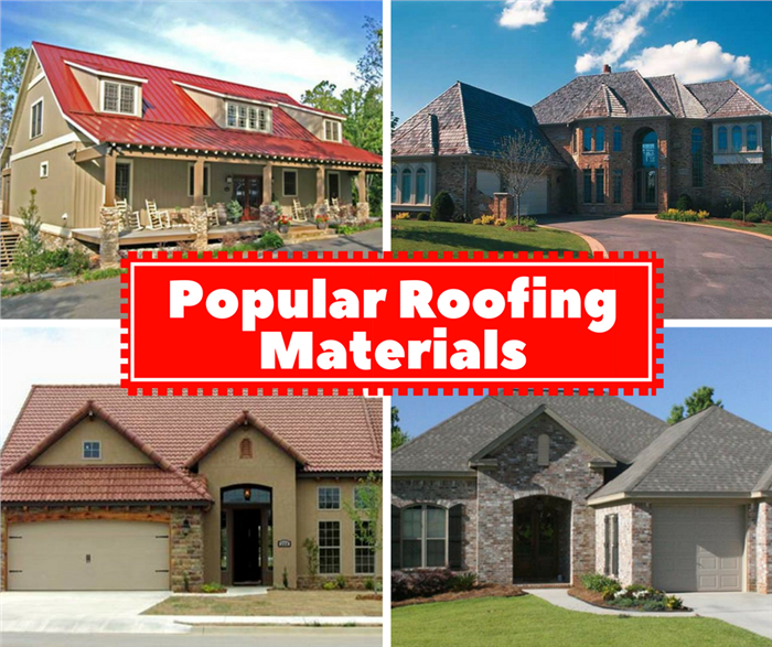Four photos illustrating different types of roofing