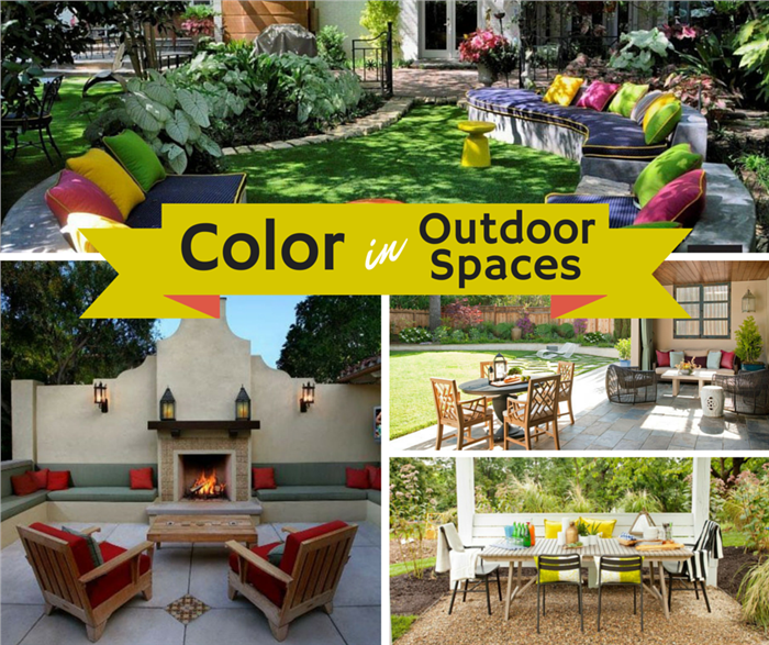 Montage of photographs illustrating outdoor living