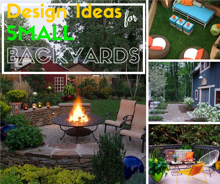 Montage of photos illustrating ideas for small backyards