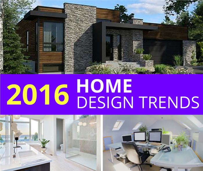 Collage of three photos illustrating home design trends