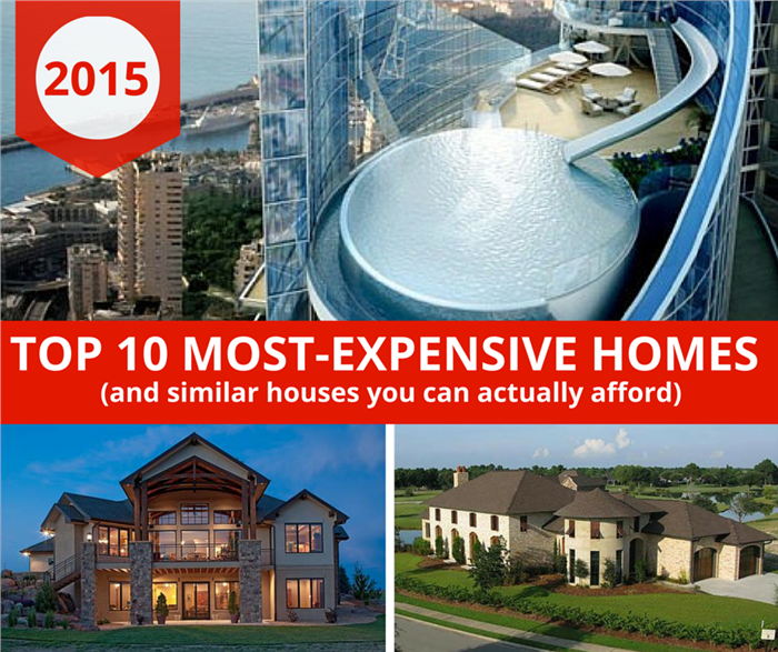 Three-photo montage illustrating 10 most-expensive homes article