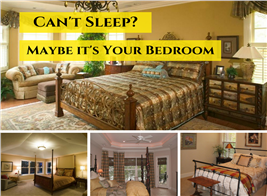 Montage of 4 photographs illustrating article on bedroom design