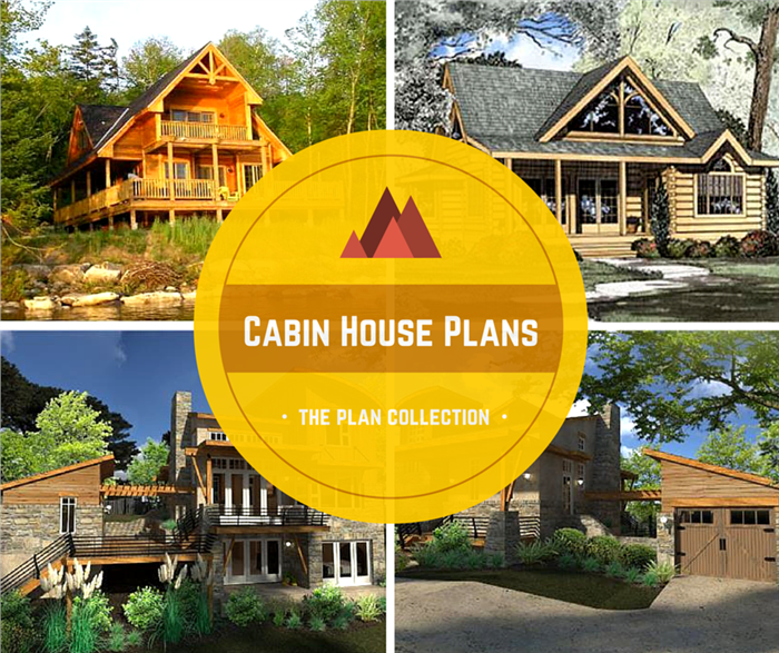 Montage of 4 photos of modern cabin home plans