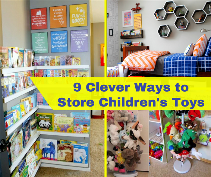 Montage of 4 photos illustrating how to store children's toys
