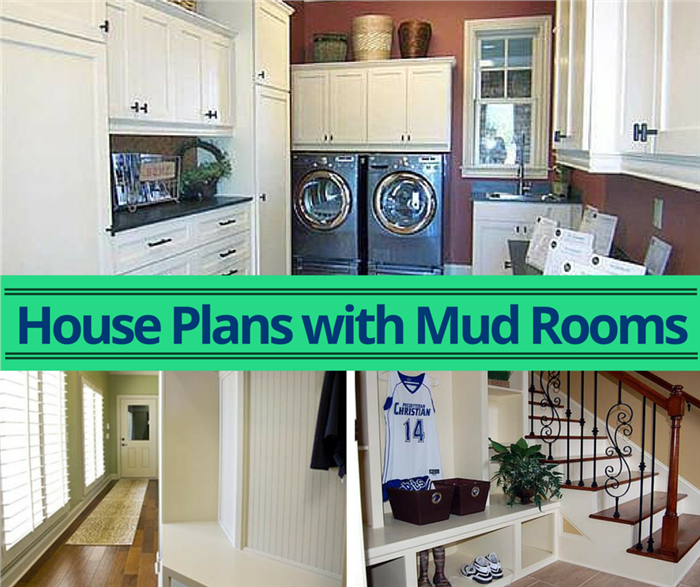 Montage of 3 photos illustrating mud rooms