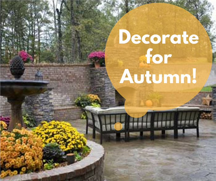 Color photograph of a patio decorated for autumn