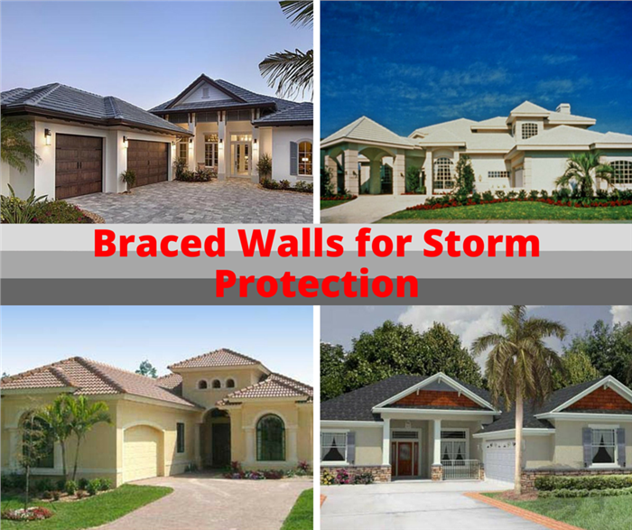 Montage of 4 photos illustrating homes in wind-prone areas