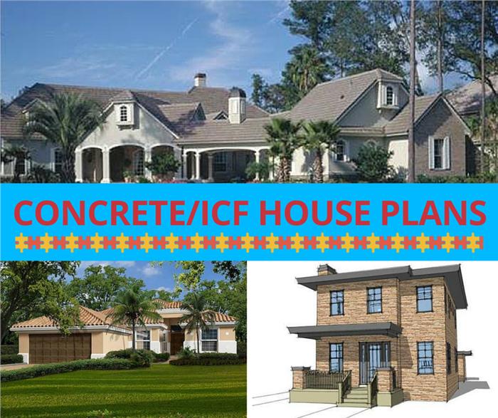 3-photo montage illustrating concrete / ICF house plans