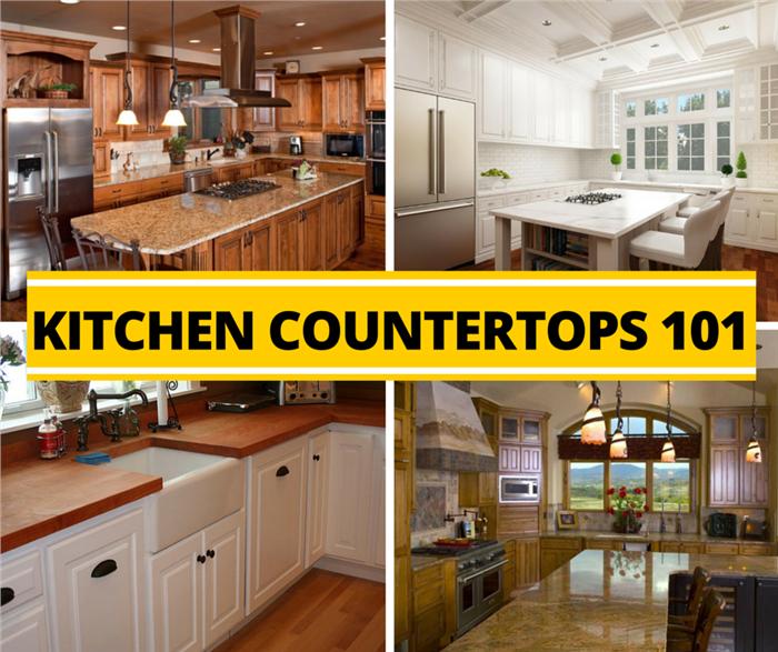 Montage of 4 photos illustrating kitchen countertops