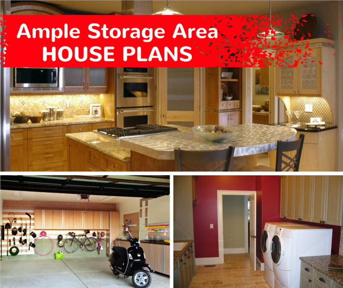 Montage of 3 photographs illustrating article on ample storage in house plans
