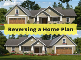 Montage of two home images illustrating an article on reversing house plans