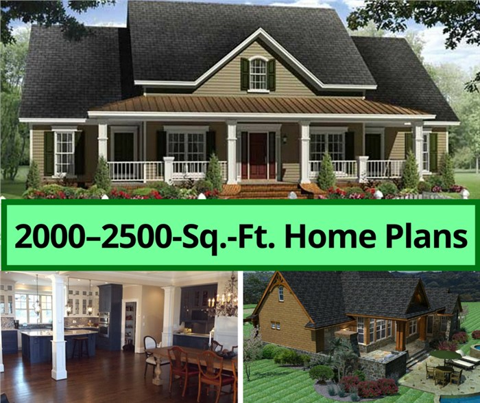 Montage of 3 images illustrating 2000-25000-sq-ft-house plans