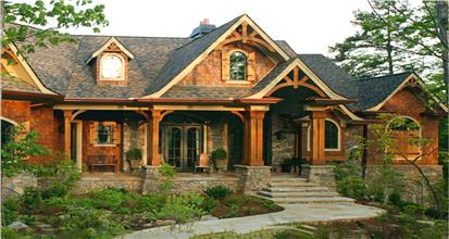 Craftsman house plans style of architecture exhibiting details such as low pitched roof with deep, overhanging eaves.